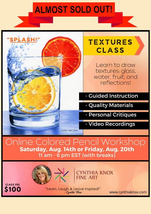 Splash Textures Colored Pencil Class